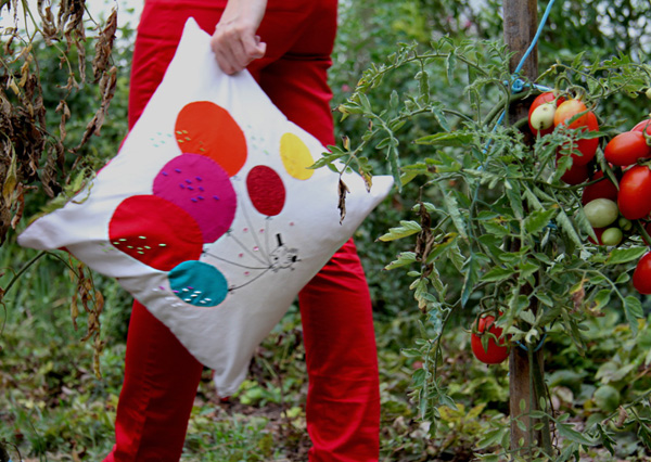 cushion in garden
